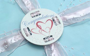 Congratulations Hearts Fobbie Used for a Wedding
